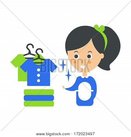 Cleanup Service Maid And Clean Clothes, Cleaning Company Infographic Illustration. Professional Cleaner And Her Work Flat Icon In Green And Blue Color.