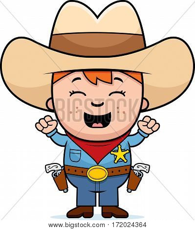 Excited Little Cowboy