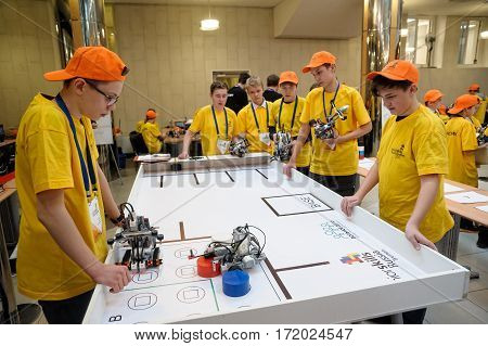 Tyumen Russia - February 16. 2017: Open championship of professional skill among youth World skills Russia Tyumen - 2017. Competitions of robots among school students