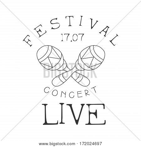 Festival Live Music Concert Black And White Poster With Calligraphic Text And Crossed Maracas. Musical Show Event Promo Monochrome Vector Typographic Print Template.