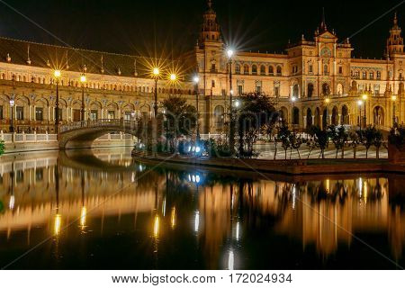 Spanish Square in Sevilla at night. Spain. Andalusia