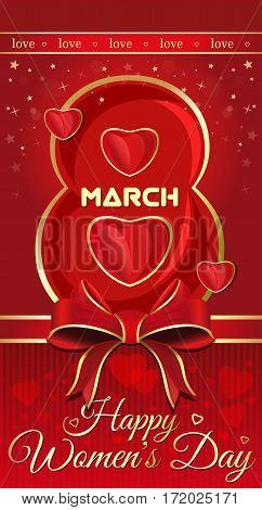 Happy Women's Day greeting cards. Most beautiful figure eight on a red background. Template flyer with red heart, ribbon and bow to the 8th March. Vector illustration