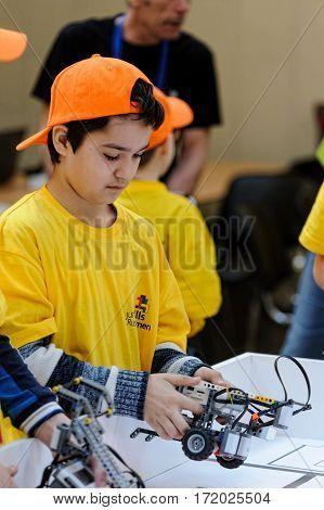 Tyumen Russia - February 17 2017: Open championship of professional skill among youth World skills Russia Tyumen - 2017. Competitions of robots among school students