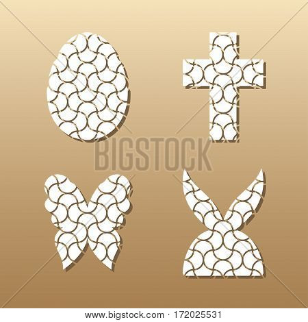 Easter lace plates mock-ups for gift tags, cake toper and cards. Cutout logos of egg, rabbit, butterfly and cross. Template laser cutting machine for wood, metal and paper. Creative illustrations for stickers or applications.