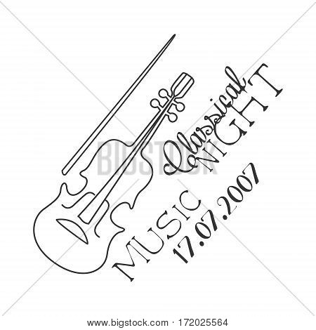 Classical Live Music Concert Black And White Poster With Calligraphic Text And Violin. Musical Show Event Promo Monochrome Vector Typographic Print Template.