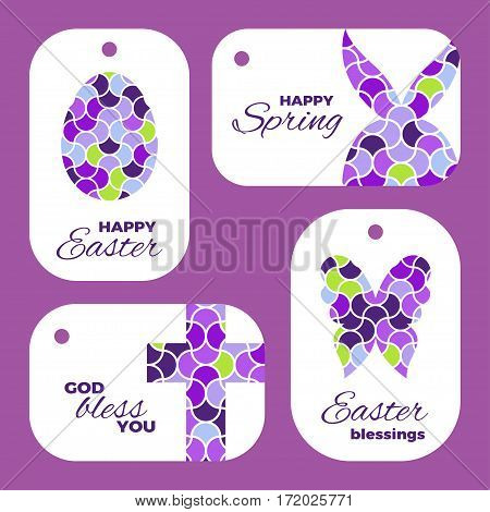 Easter mosaic plates mock-ups for gift tags and cards. Mosaic logos of egg, rabbit, butterfly and cross. Creative illustrations for stickers or applications.