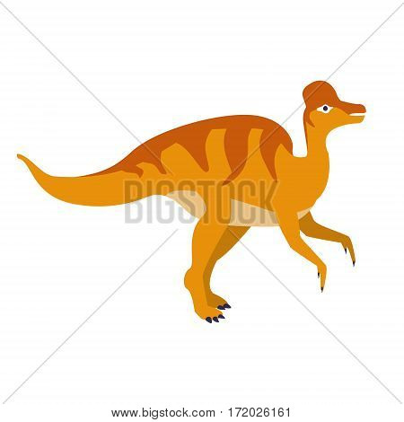 Orange Duckbill Dinosaur Of Jurassic Period, Prehistoric Extinct Giant Reptile Cartoon Realistic Animal. Simplified Dinosaur Species Vector Illustration With Recognizable Details Of Ancient Fauna.