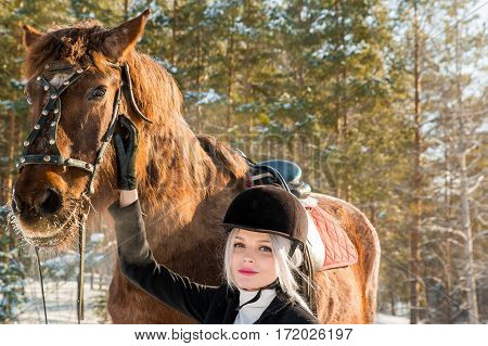 Young beautiful girl jockey and horse in a winter forest
