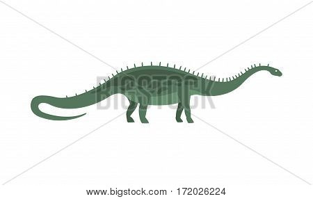 Green Diplodocus Dinosaur Of Jurassic Period, Prehistoric Extinct Giant Reptile Cartoon Realistic Animal. Simplified Dinosaur Species Vector Illustration With Recognizable Details Of Ancient Fauna.