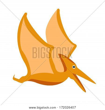 Pterodactyl Dinosaur Of Jurassic Period, Prehistoric Extinct Giant Reptile Cartoon Realistic Animal. Simplified Dinosaur Species Vector Illustration With Recognizable Details Of Ancient Fauna.