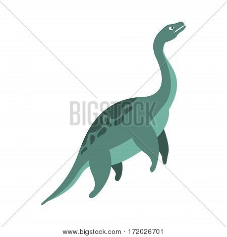 Elasmosaurus Aquatic Dinosaur Of Jurassic Period, Prehistoric Extinct Giant Reptile Cartoon Realistic Animal. Simplified Dinosaur Species Vector Illustration With Recognizable Details Of Ancient Fauna.