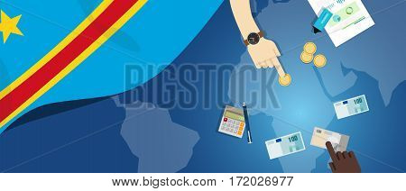 Congo economy fiscal money trade concept illustration of financial banking budget with flag map and currency vector