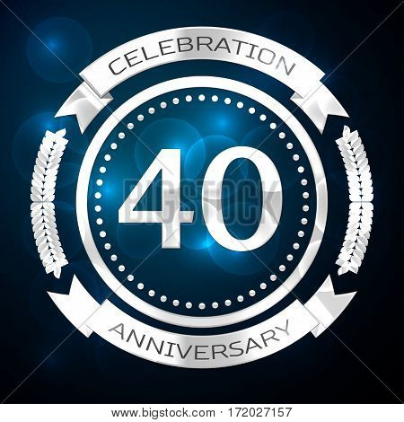 Forty years anniversary celebration with silver ring and ribbon on blue background. Vector illustration