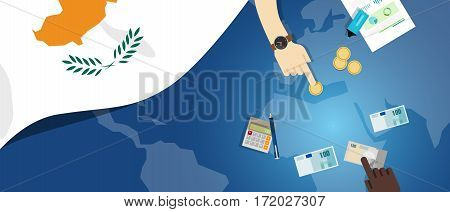 Cyprus economy fiscal money trade concept illustration of financial banking budget with flag map and currency vector
