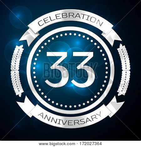 Thirty three years anniversary celebration with silver ring and ribbon on blue background. Vector illustration