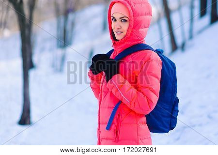 Woman Traveler With Backpack Hiking Travel Lifestyle Adventure Concept Active Vacations Outdoor Snow