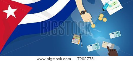 Cuba Cuban economy fiscal money trade concept illustration of financial banking budget with flag map and currency vector