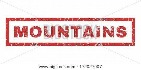 Mountains text rubber seal stamp watermark. Tag inside rectangular banner with grunge design and dirty texture. Horizontal vector red ink emblem on a white background.