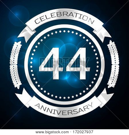 Forty four years anniversary celebration with silver ring and ribbon on blue background. Vector illustration