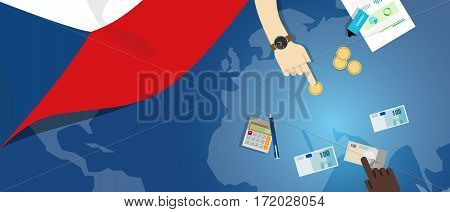 czech republic economy fiscal money trade concept illustration of financial banking budget with flag map and currency vector