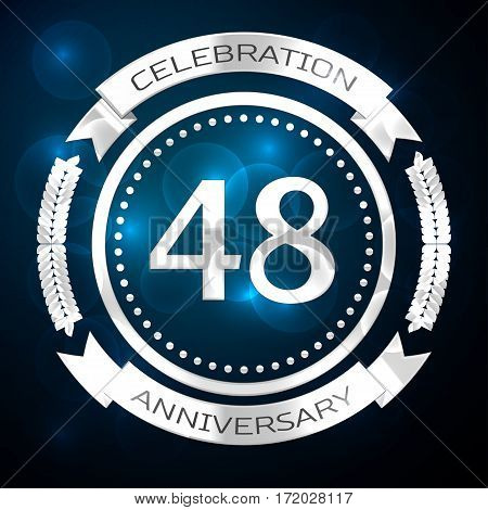 Forty eight years anniversary celebration with silver ring and ribbon on blue background. Vector illustration