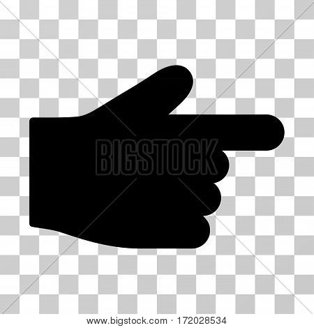 Index Finger vector icon. Illustration style is flat iconic black symbol on a transparent background.
