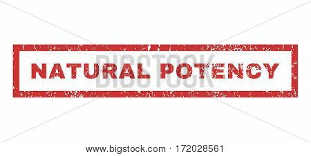 Natural Potency text rubber seal stamp watermark. Caption inside rectangular banner with grunge design and dirty texture. Horizontal vector red ink sticker on a white background.