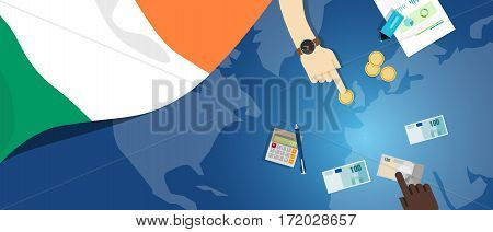 Ireland economy fiscal money trade concept illustration of financial banking budget with flag map and currency vector