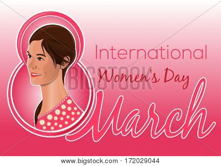 Greeting card for the International Women's Day. Poster with a beautiful women. Lovely, pretty, cute girl on the background of congratulations on the 8th March. Vector illustration