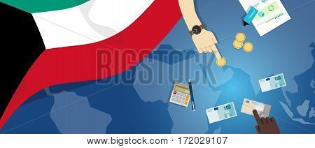 Kuwait economy fiscal money trade concept illustration of financial banking budget with flag map and currency vector