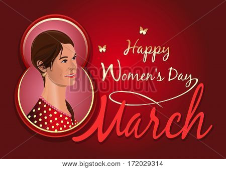 Greeting card for the International Women's Day. Postcard with a beautiful girl. Cute girl on the background of congratulations on the 8th March. Women's day design