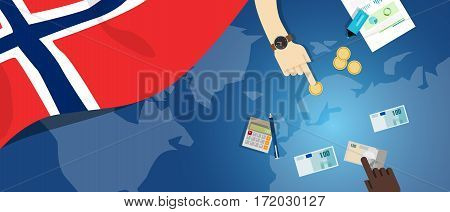 Norway economy fiscal money trade concept illustration of financial banking budget with flag map and currency vector