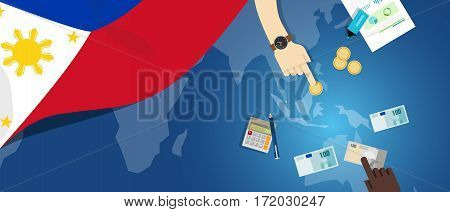 Philippines economy fiscal money trade concept illustration of financial banking budget with flag map and currency vector