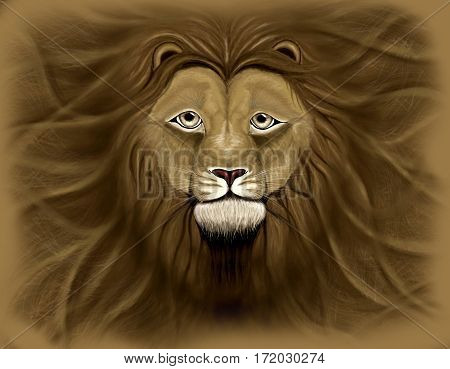 Lion head with a wavy mane of filling a background