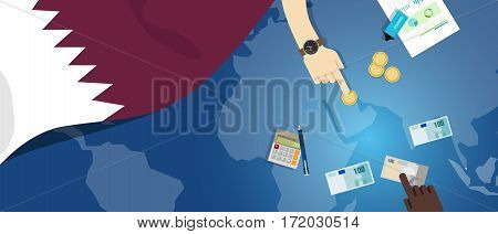 Qatar economy fiscal money trade concept illustration of financial banking budget with flag map and currency vector
