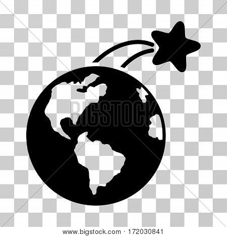 Rising Satellite On Earth vector pictogram. Illustration style is flat iconic black symbol on a transparent background.