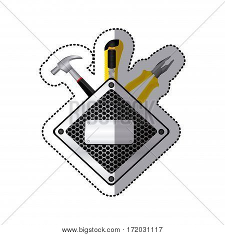 sticker diamond metallic frame grille perforated with tools vector illustration