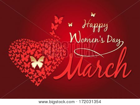 Women's day design. Happy Women's Day. 8 March. Red background with fluttering butterflies in the shape of heart. Vector greeting card