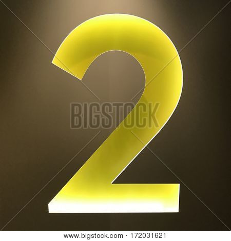 Backlit number 2 two sign yellow wall cut 3d