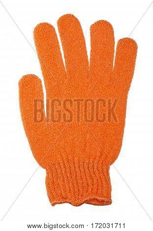 Orange glove shower isolated on white background