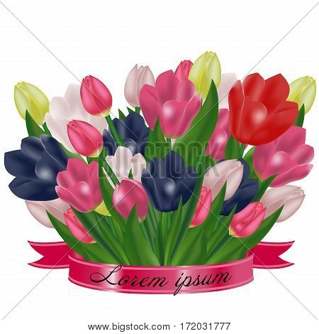 Bouquet of tulips with a pink ribbon. Festive spring flowers. Holiday symbol. Vector illustration.