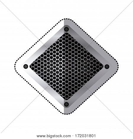 sticker diamond metallic frame with grill perforated vector illustration