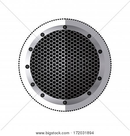 sticker circular metallic frame with grill perforated vector illustration