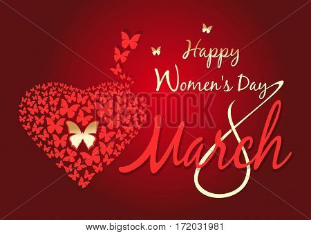 Women's day design. Happy Women's Day. 8 March. Vector greeting card. Vector background with fluttering butterflies in the shape of heart