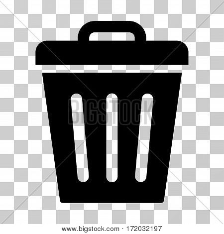 Trash Can vector icon. Illustration style is flat iconic black symbol on a transparent background.