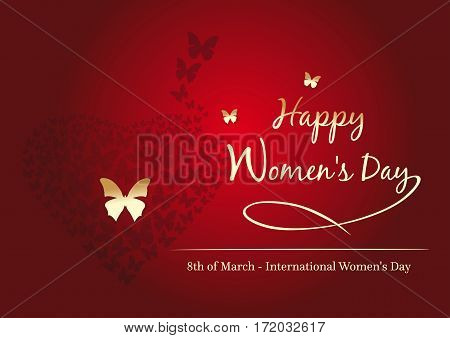 Women's day design. 8 March. Happy Women's Day. Fluttering butterflies in the shape of heart. Red background with gold greeting inscription. Vector greeting card