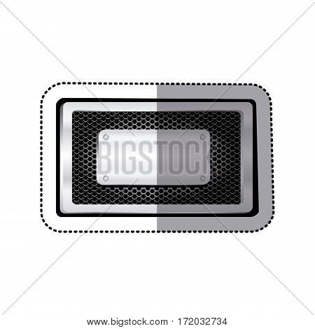 sticker rectangle grille perforated frame with metal plate and screws vector illustration