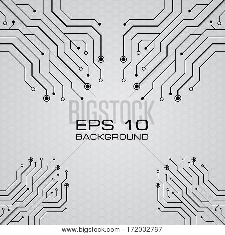 Vector printed circuit board vector gray background