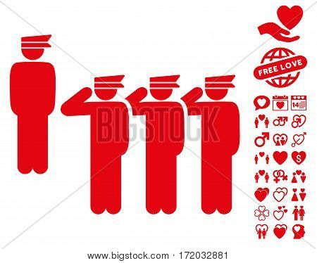 Army icon with bonus passion design elements. Vector illustration style is flat iconic red symbols on white background.