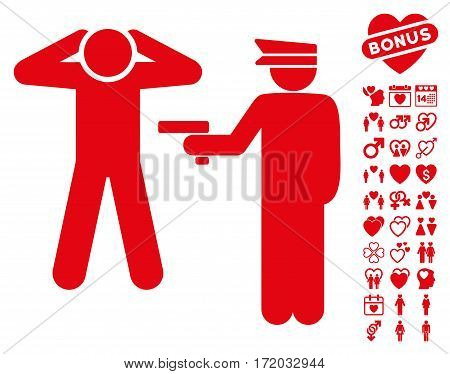 Arrest pictograph with bonus love pictures. Vector illustration style is flat iconic red symbols on white background.